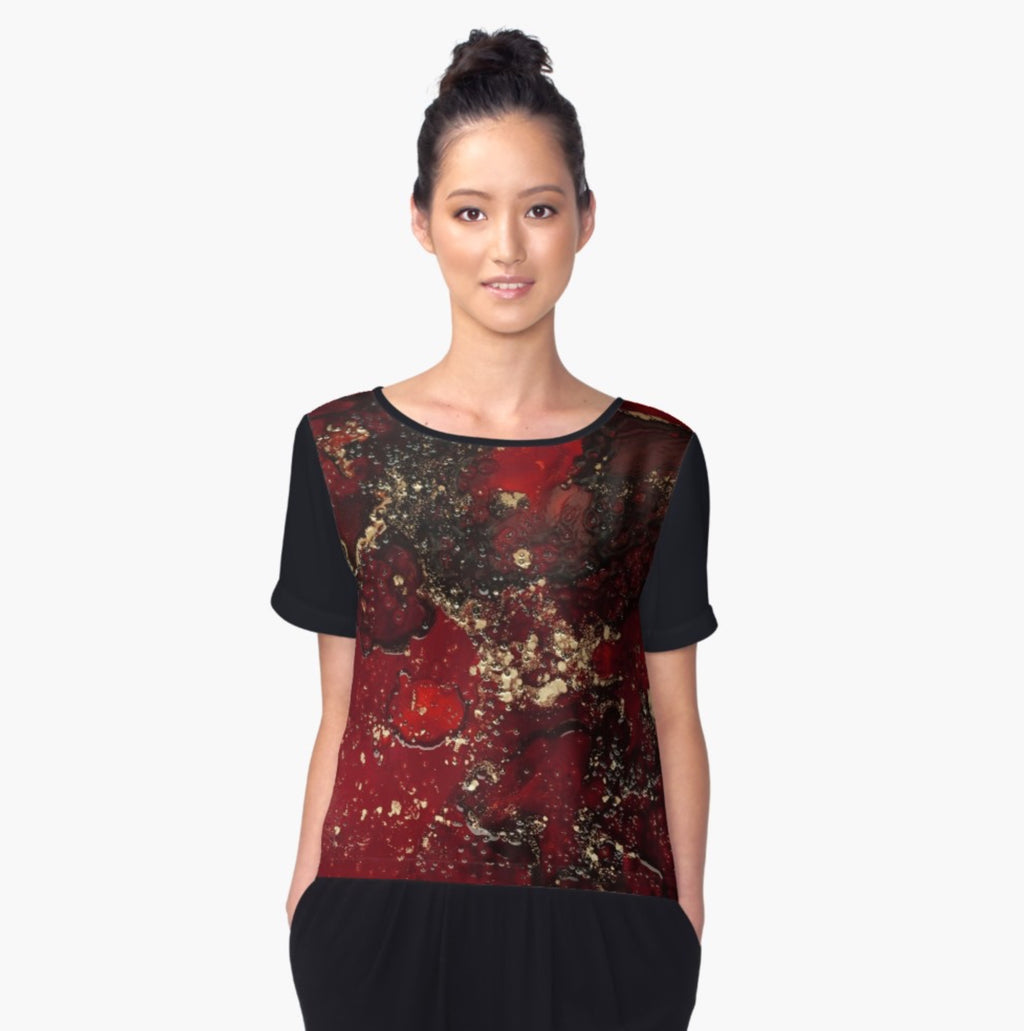Red Mocha Meets Gold Women's Chiffon Blouse
