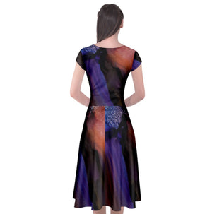 Galactic Twilight Cap Sleeve Front Wrap Dress