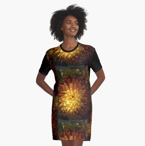 Chrysanthemum Joy T-Shirt Dress