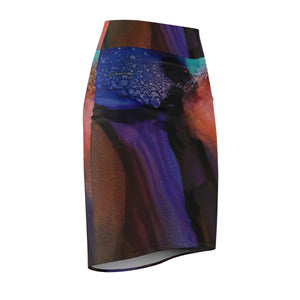 Abstracted Violet Pencil Skirt