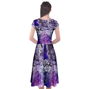 Amethyst Cap Sleeve Front Wrap Dress
