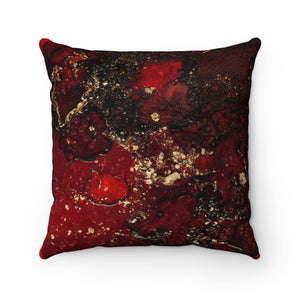 Red Mocha Meets Gold Faux Suede Square Pillow
