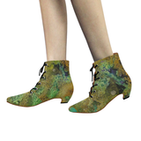 Sands of Green Women's Pointed Toe Low Heel Booties