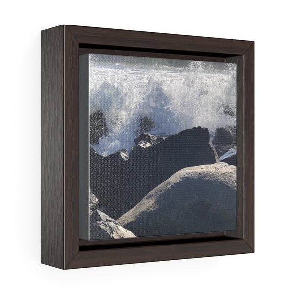 Into the Spray Square Framed Premium Gallery Wrap Canvas