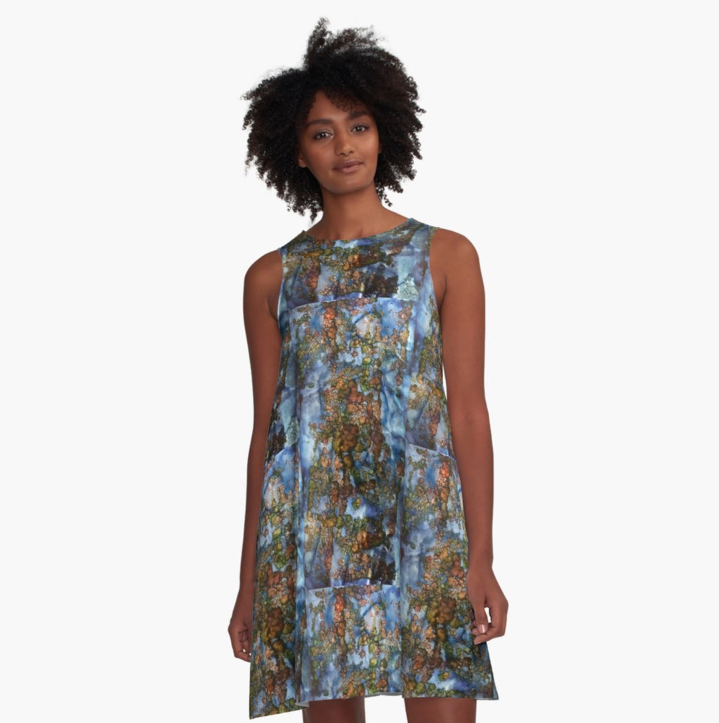 Blue Cubes A-Line Dress