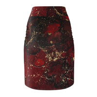 Red Mocha Meets Gold Pencil Skirt