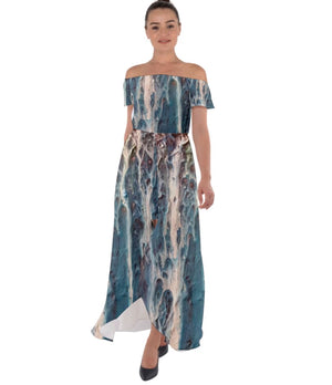 The Blues Off Shoulder Open Front Chiffon Dress