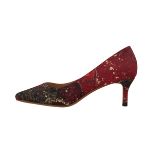 Red Mocha Meets Gold Women's Pointed Toe Low Heel Pumps