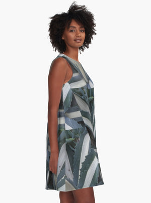 Charcoal Stripes A-Line Dress