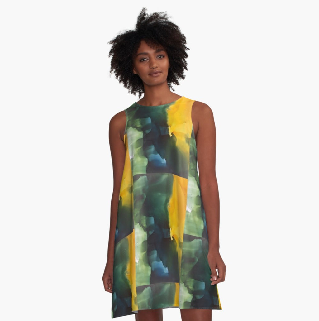 Yellow Jumps Green A-Line Dress