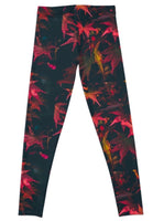 Red Leaves Black Leggings