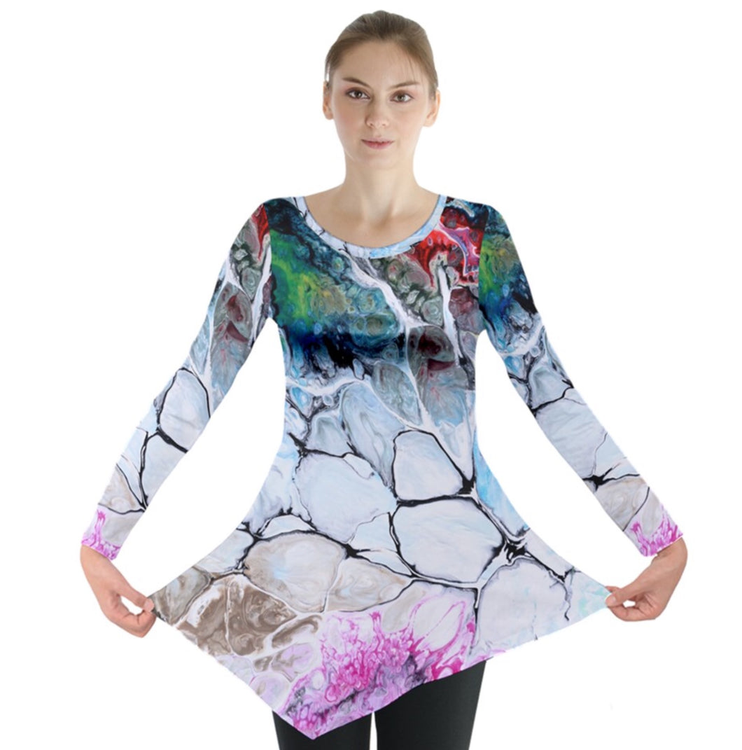 Cracks into Color Long Sleeve Tunic