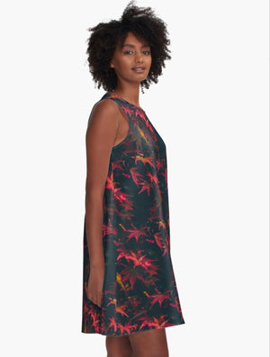 Red Leaves Black A-Line Dress