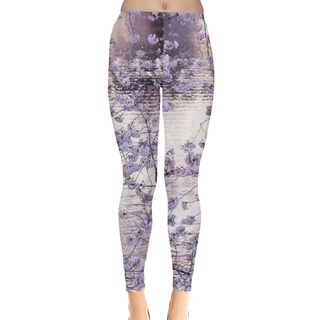 Soft White Blossoms Over Water Leggings
