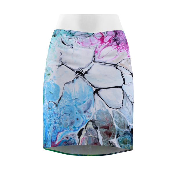 Cracked Colors Pencil Skirt