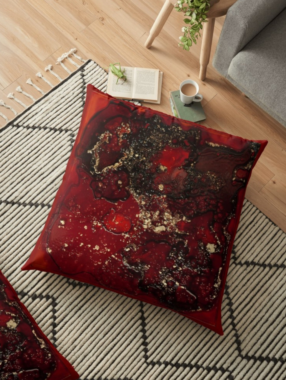 Red Mocha Meets Gold Large Spun Polyester Pillows