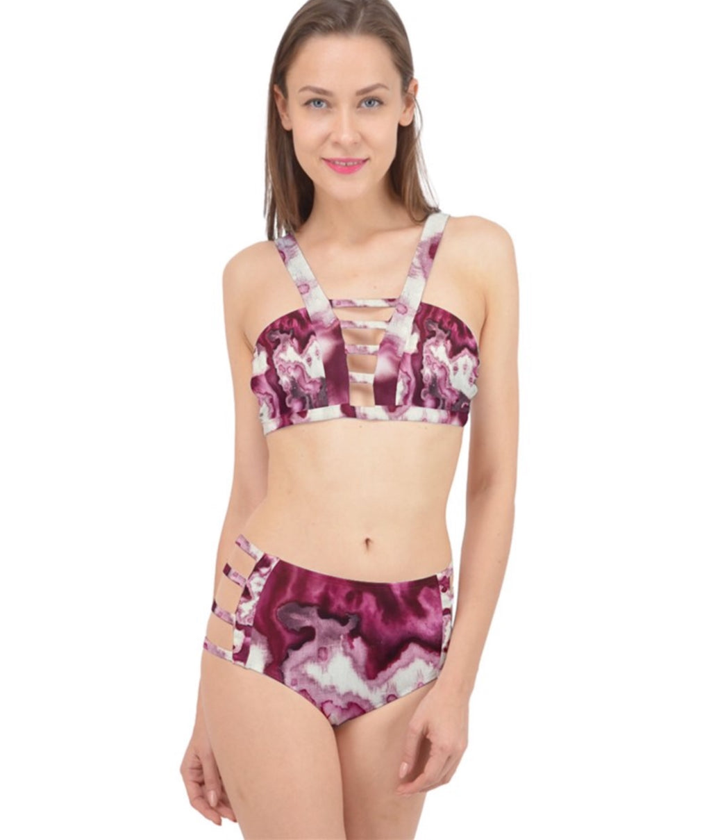 Raspberries and Cream Cage Up Bikini