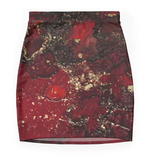 Red Mocha Meets Gold Mini Skirt
