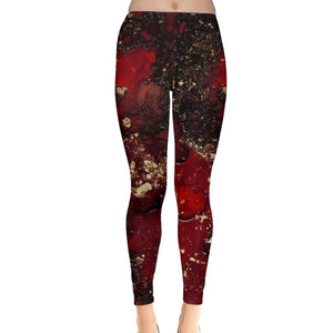 Red Mocha Meets Gold Leggings