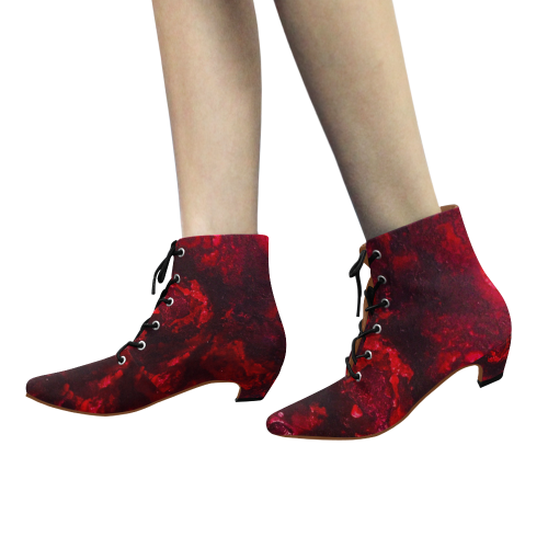 Red as the Heart Women's Pointed Toe Low Heel Booties