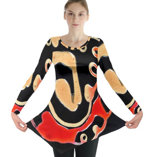 Gold Dances with Red Long Sleeve Tunic