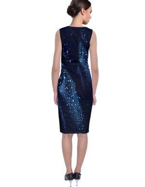 Midnight Rain Sleeveless Velvet Midi Dress