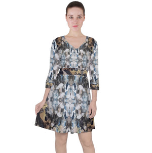 Blue Marble Shield Quarter Sleeve Front Wrap Dress