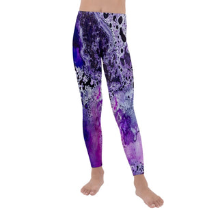 Amethyst Galaxy Velvet Leggings for Kids