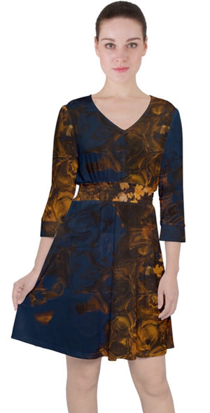 Autumn Twilight Quarter Sleeve Front Wrap Dress