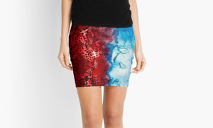 Reds Meets Blues, Blues Meets Reds Mini Skirt