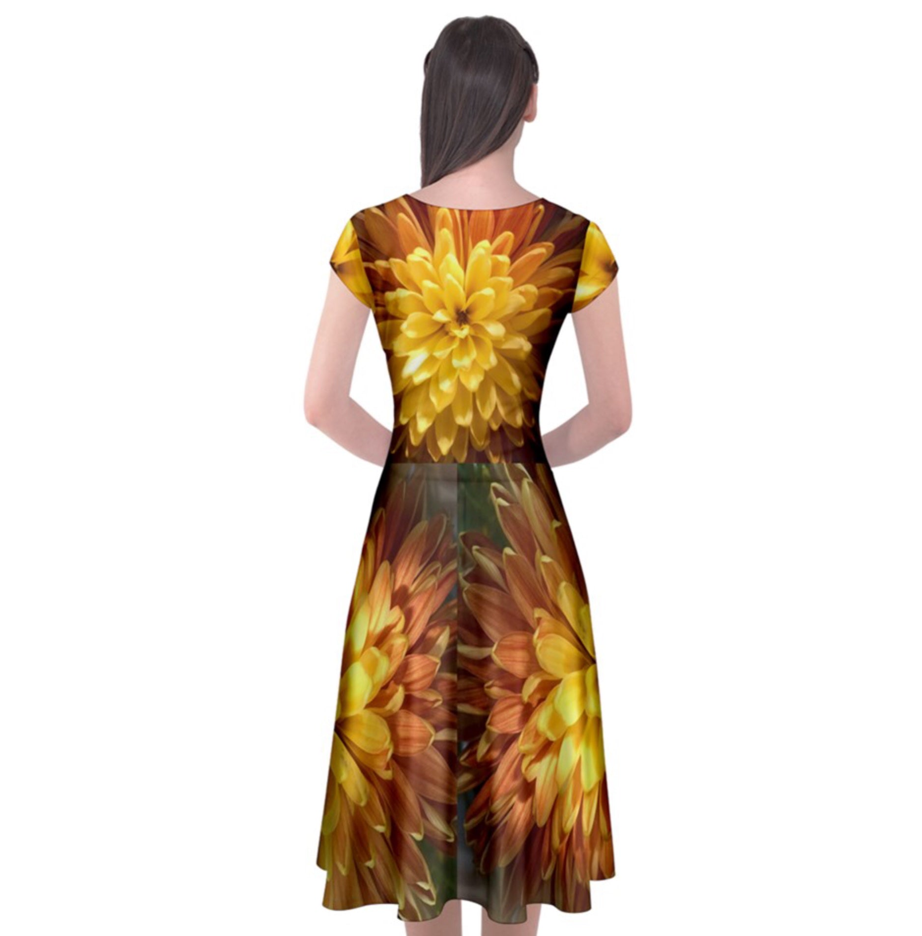 Chrysanthemum Cap Sleeve Front Wrap Dress