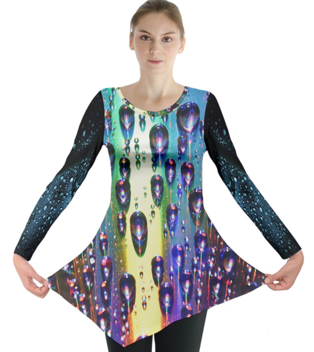 Vibrant Rain Long Sleeve Tunic