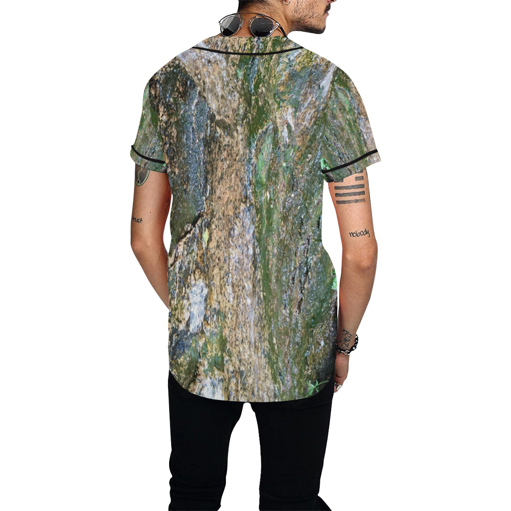 Forest Stone with Black Trim Baseball Jersey for Men