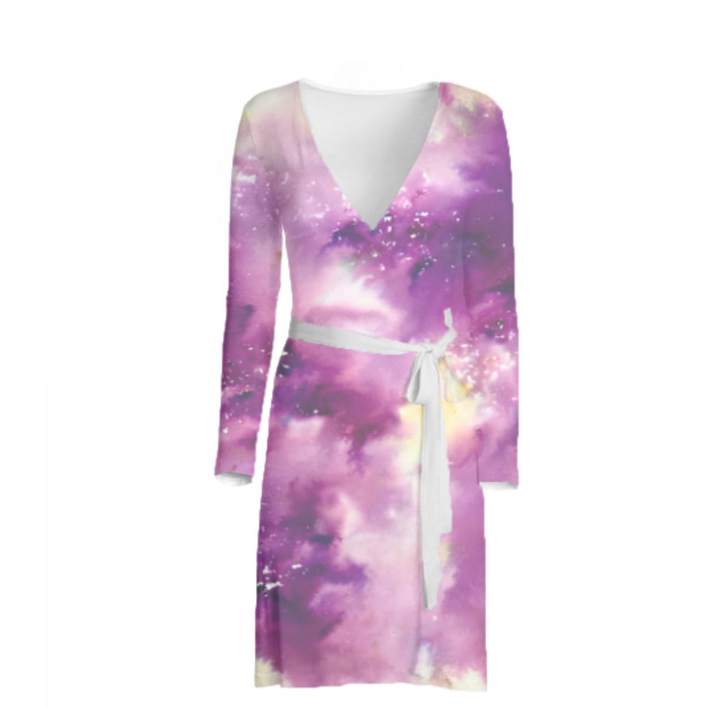 Iris Delight Custom Long Sleeve Wrap Dress