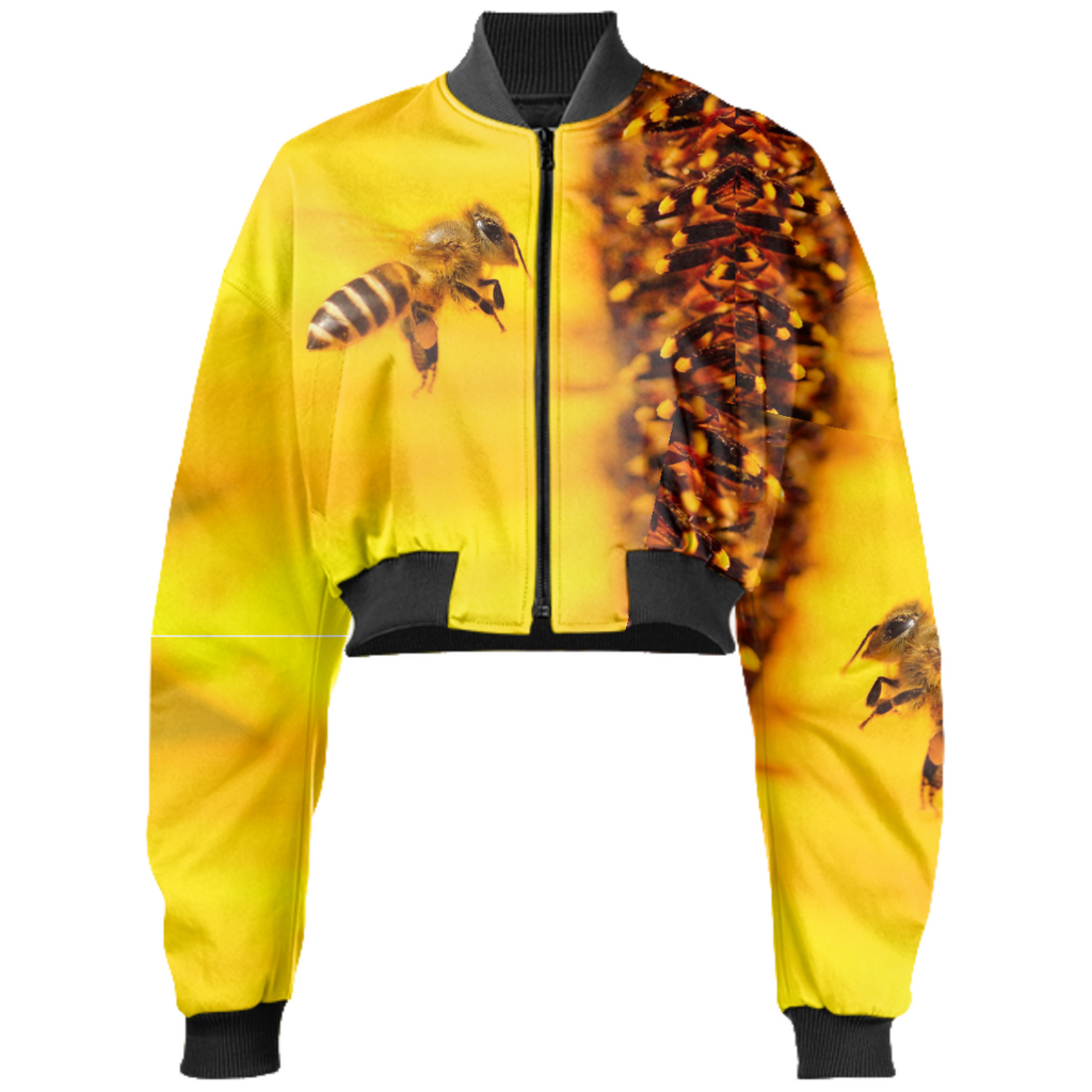 In Search of Honey Cropped Bomber Jacket