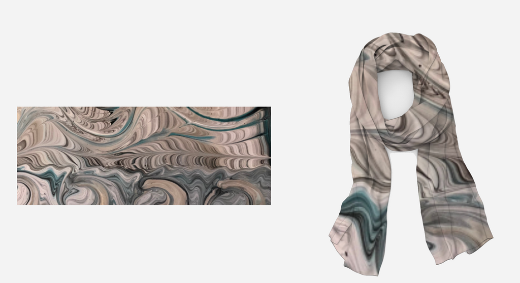 Waves of Sand Long Silk/Modal Scarf