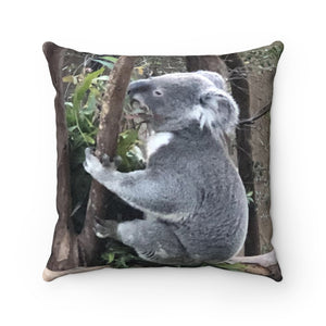 Koala Time Faux Suede Square Pillow
