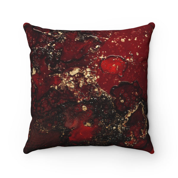Red Mocha Meets Gold Small/Medium Spun Polyester Square Pillow