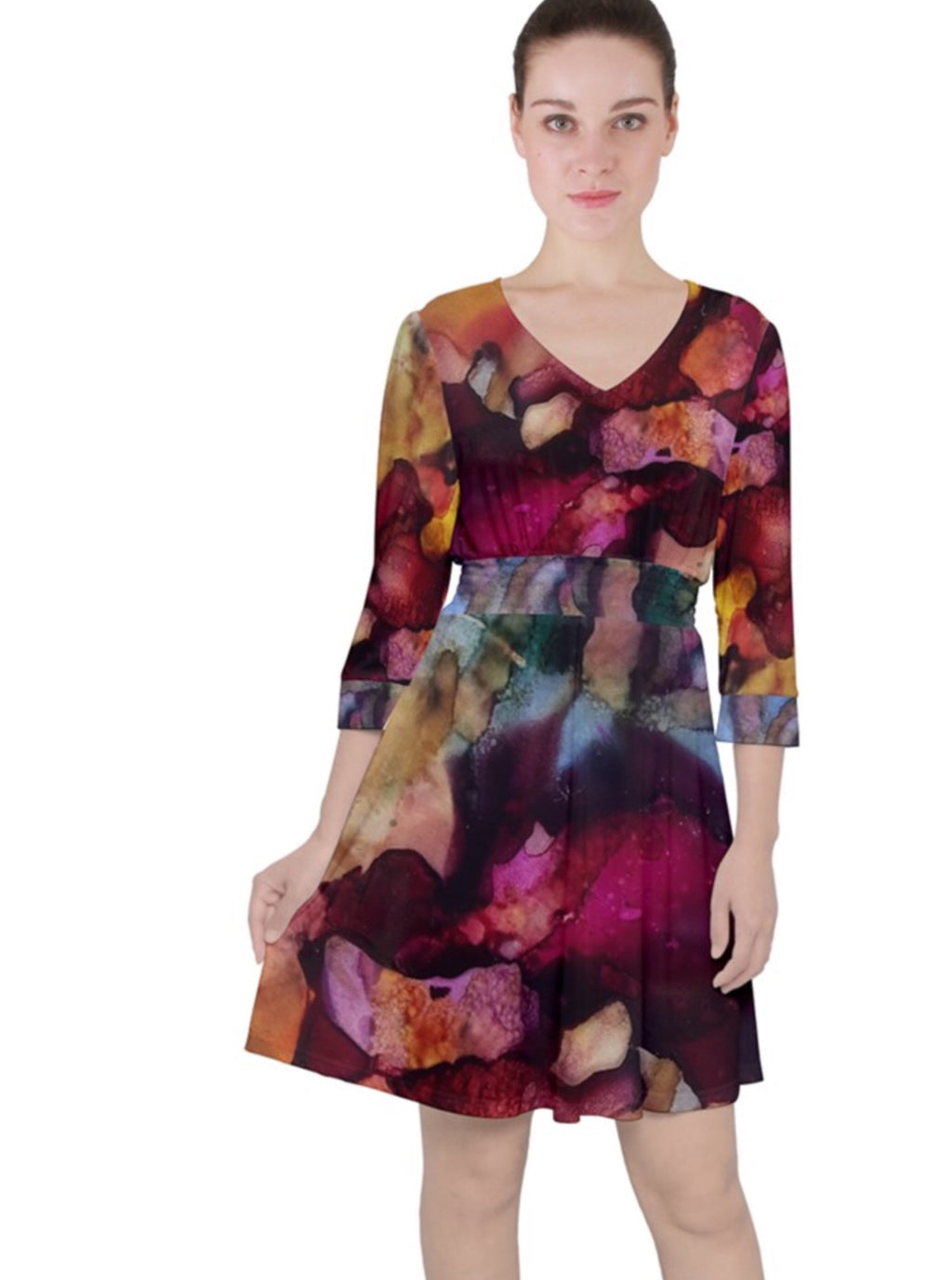 Dragon Sunrise Quarter Sleeve Front Wrap Dress