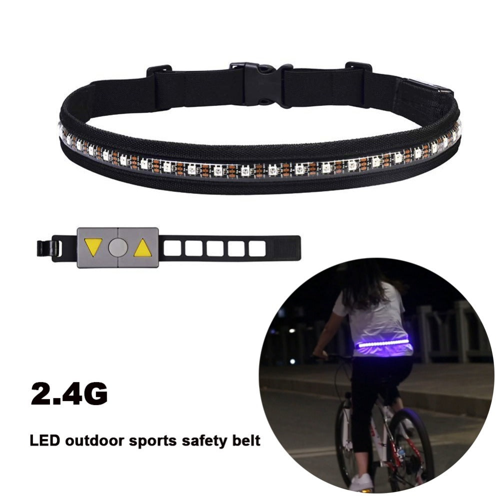 LED outdoor sports safety Waist belt RGB Wireless Control Steering Light USB Rechargeable Safety Running Walking and Cycling