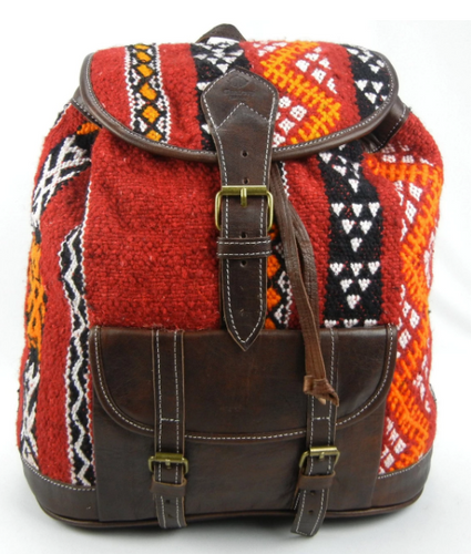 Basil- Leather kilim backpack