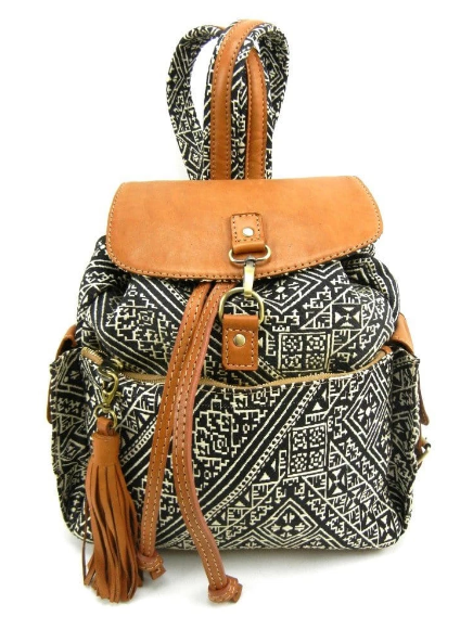 Tala- Leather and textile backpack