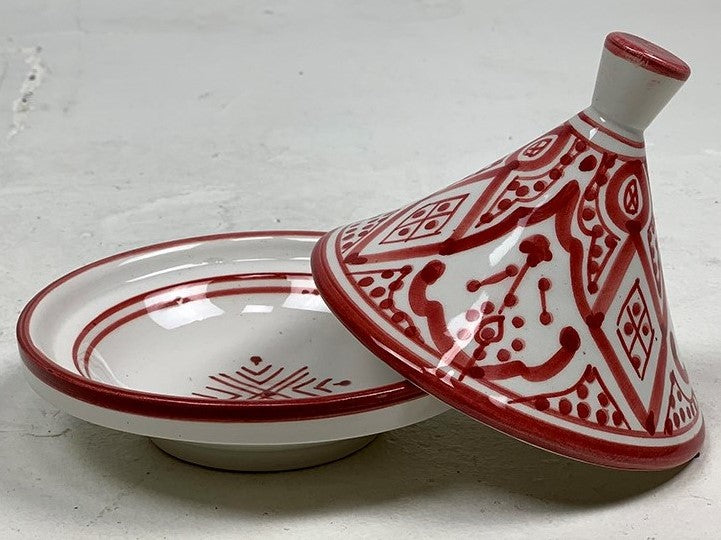 Hand painted Moroccan serving small tagine - Deep Red