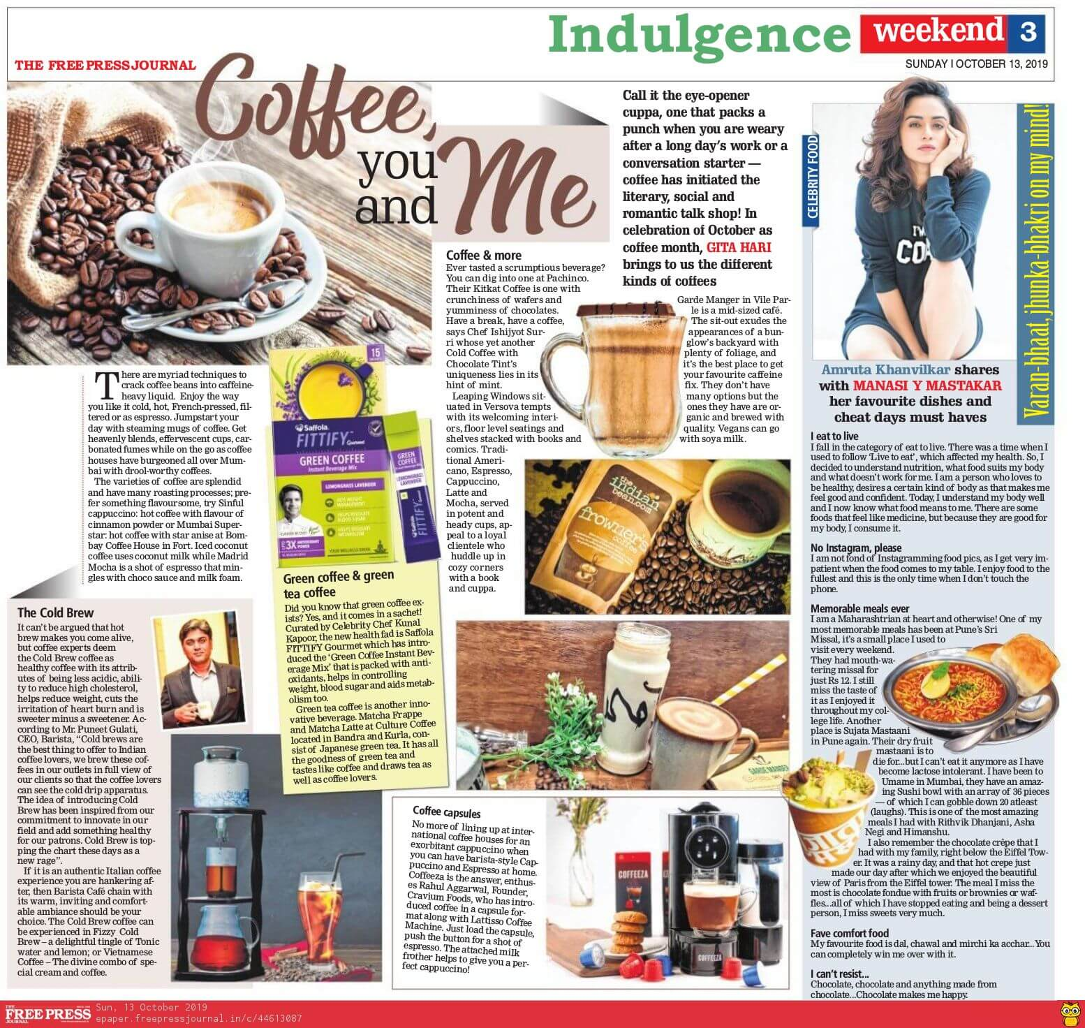 the free press journal october 2019 coffeeza article pr press media