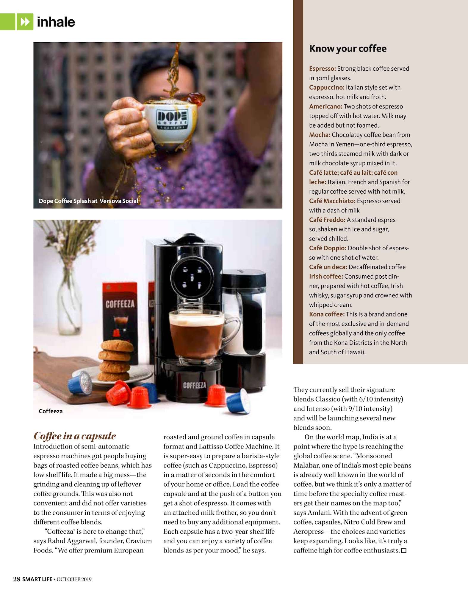 Smart Life Magazine October 2019 Coffeeza Article