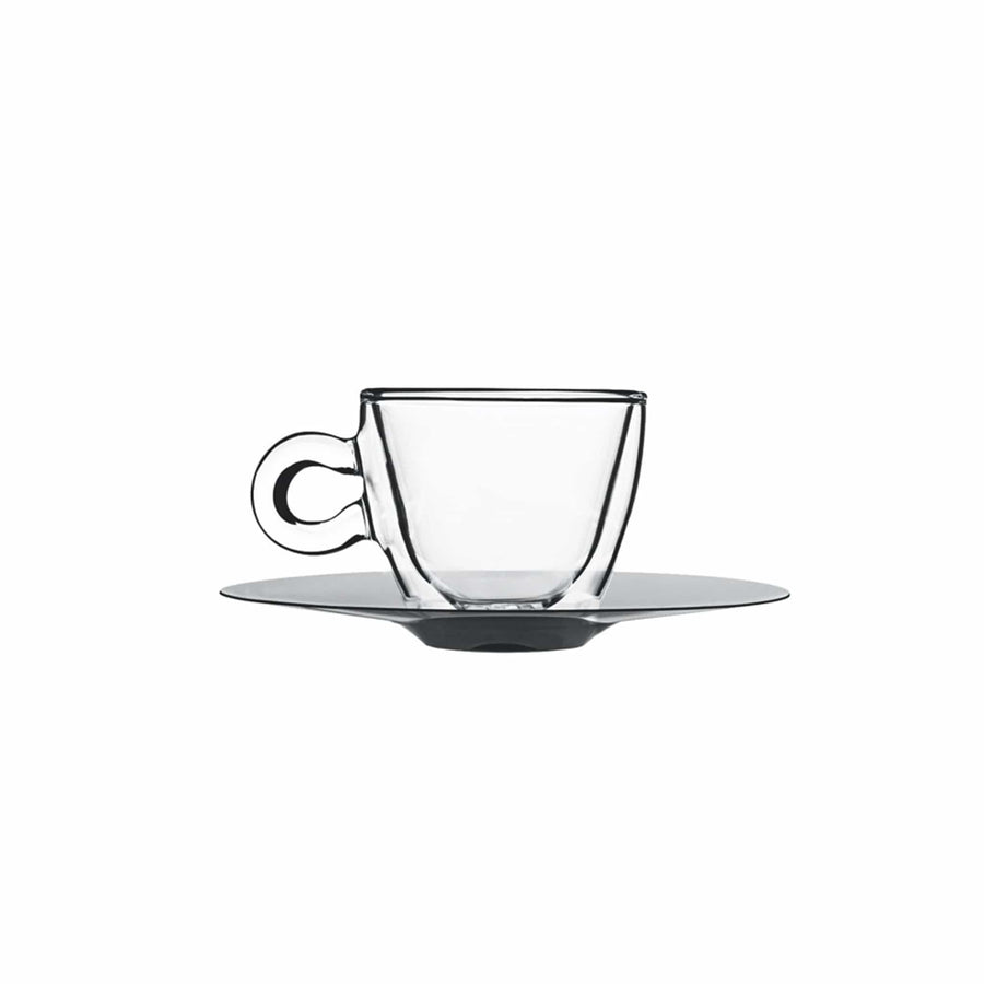 Cappuccino Cup & Saucer Set of 2, Thermic Glass, Made in Italy