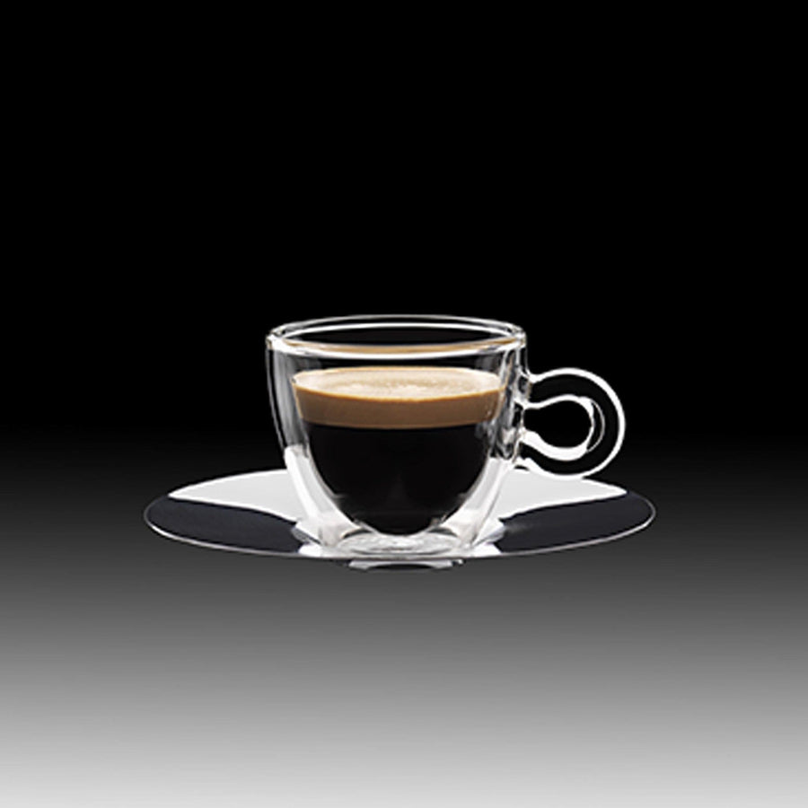 Espresso Coffee Cup & Saucer Set of 2, Thermic Glass, Made in Italy