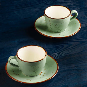 Cappuccino Cup & Saucer Set of 6, Porcelain, Green