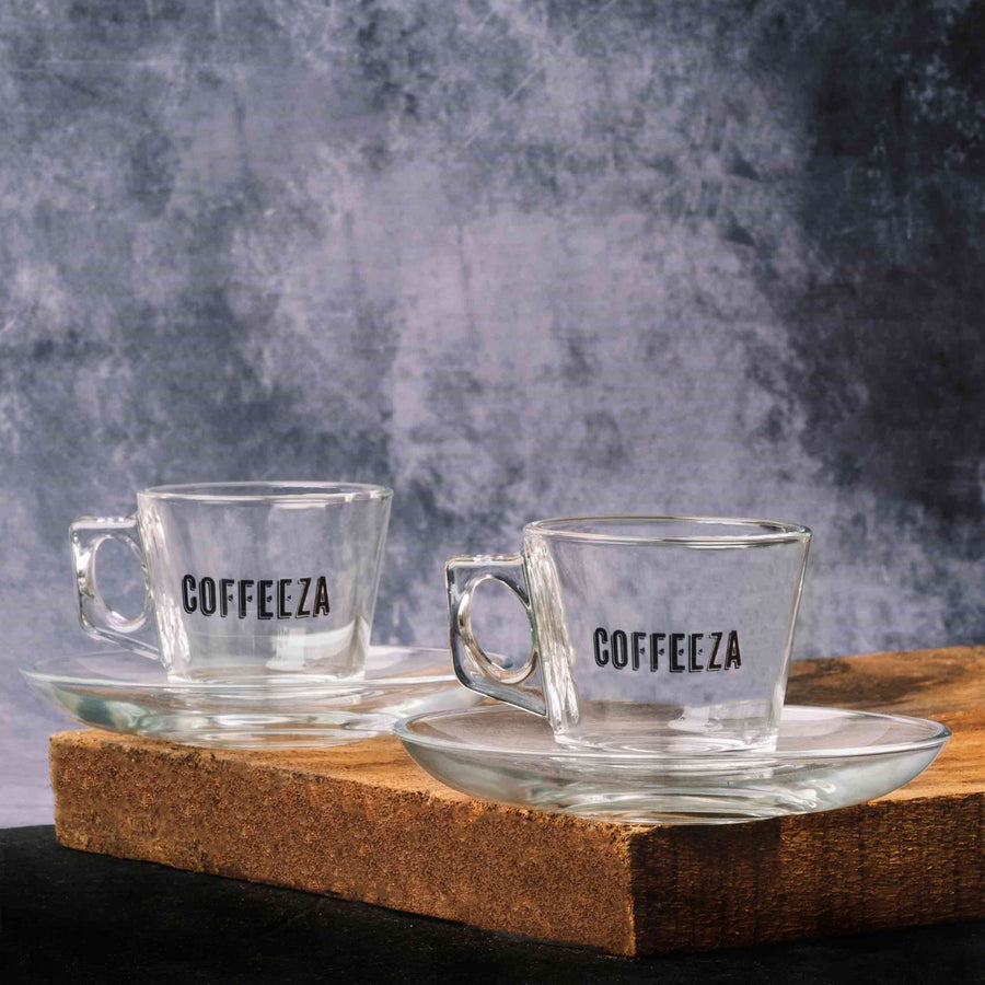 Coffeeza Espresso Cup & Saucer Set of 6, Glassware, Made in Turkey