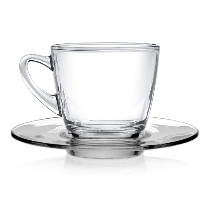 Coffeeza Cappuccino Cup & Saucer Set of 4 (Glass) - 245 Ml nespresso compatible SCA-002